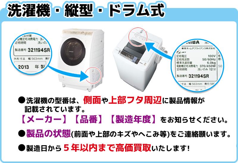 洗濯機の型番情報